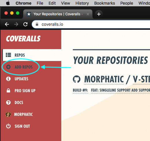 "screenshot of the ""add repos"" button on the Your Repositories page of Coveralls"