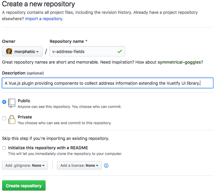 creating a GitHub repo for v-address-fields