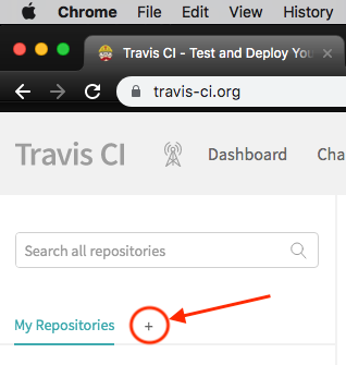 Travis CI button to add a repository to the list of those that are being tracked