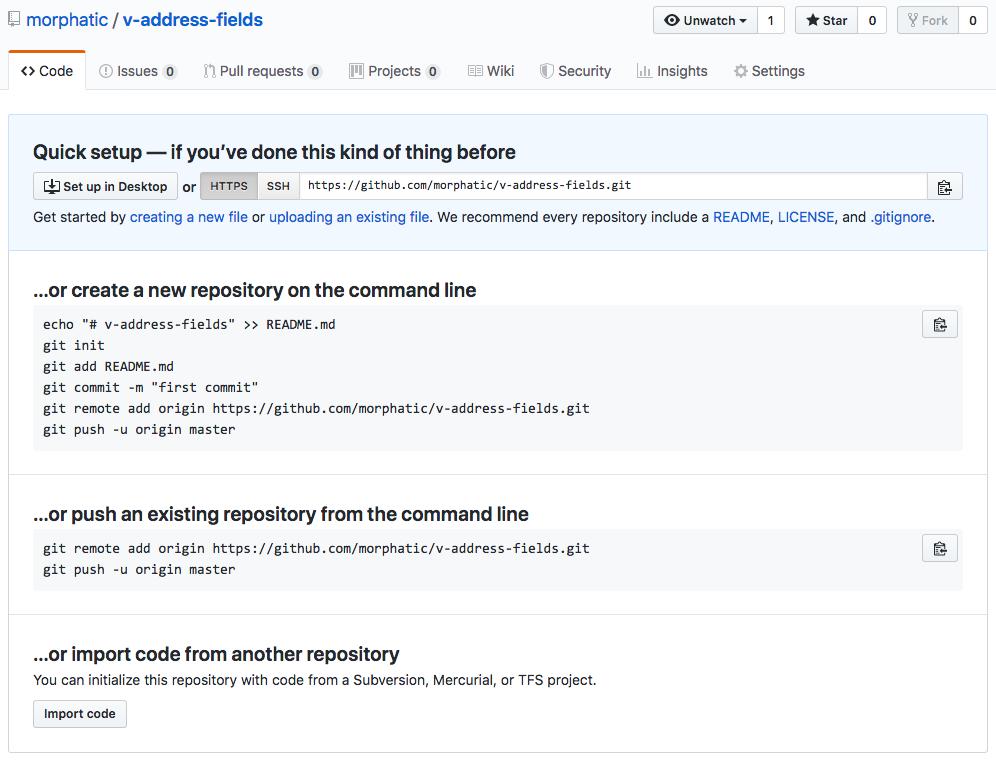v-address-fields repo created screen